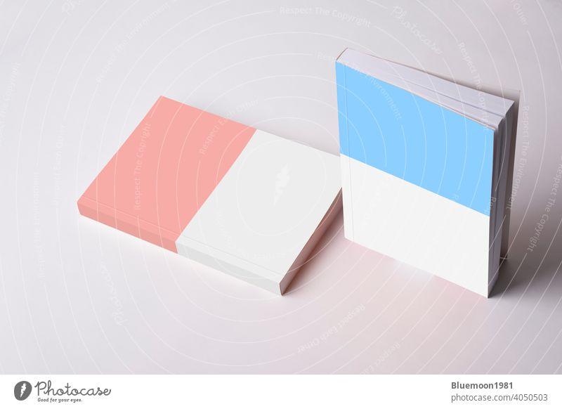 Zwei geschlossene Romanbücher mit leerem Umschlag Attrappe editierbar Wandel & Veränderung Bücher katalogisieren Deckung blanko Marke Papier Schriftstück