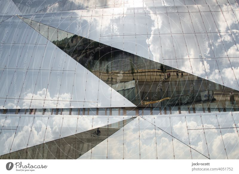 Architektur Quadratisch, praktisch, schön Glasfassade Reflexion & Spiegelung quadratische Struktur relektierend Cube Berlin abstrakt washingtonplatz Fenster