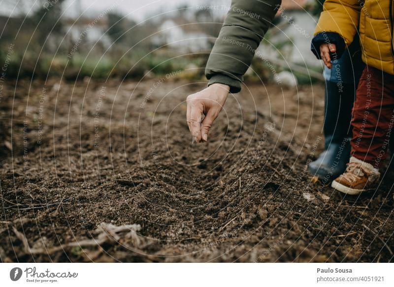 Mutter und Kind säen Möhren Samen Saatgut Aussaat Keimling Landwirtschaft Bioprodukte organisch Garten Gartenarbeit authentisch Lifestyle Mutterschaft