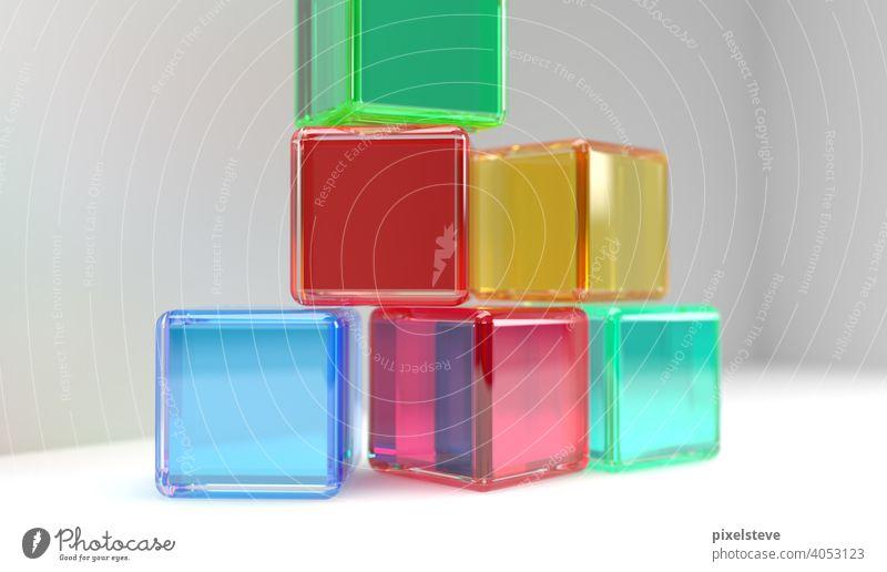 Bunte transparente Kunststoff-Würfel vor hellem Hintergrund Farbe bunt plastik kunststoff acryl glas spiel spielzeug Spielen kind freizeit Spielzeug 3d spaß