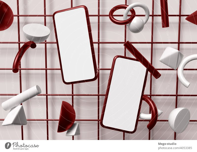 3D-Illustration. Zwei Smartphones mit leeren weißen Bildschirm. 3d Mobile Telefon blanko Hintergrund geometrisch Grafik u. Illustration Anzeige modern Objekt