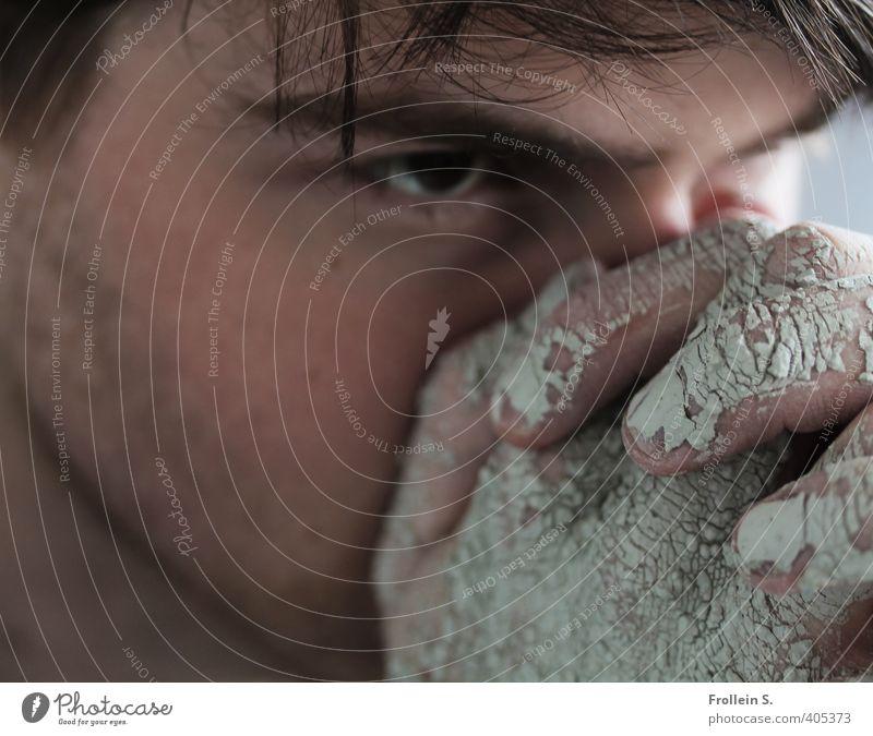 Fokus Mensch Jugendliche Hand Erwachsene Junger Mann Auge 18-30 Jahre Traurigkeit Religion & Glaube dreckig Finger beobachten Konzentration Wachsamkeit brünett