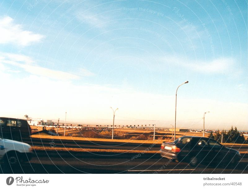 Reykjavik001 Sonne Straße PKW Europa Island Blauer Himmel Skandinavien Reykjavík