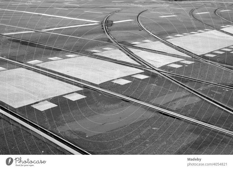 Abzweigende Straßenbahnschienen mit Radweg, Fußgängerüberweg und anderen Straßenmarkierungen auf grauem Asphalt in der Innenstadt von Frankfurt am Main in Hessen, fotografiert in klassischem Schwarzweiß