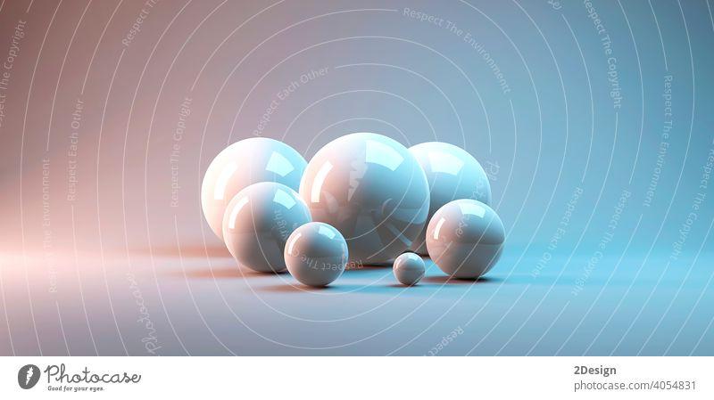 3d-Rendering von mehreren großen reflektierten Kugeln in einem weißen Studio graphisch Ball Knöpfe rendern dreidimensional Chrom fliegen Bild orb Perle Schatten
