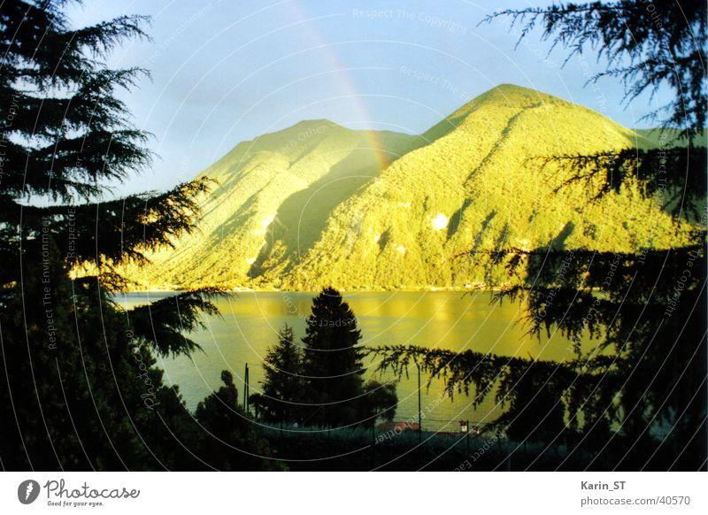 Regenstimmung Regenbogen See Baum Licht Ferien & Urlaub & Reisen Berge u. Gebirge hell Sonne Himmel