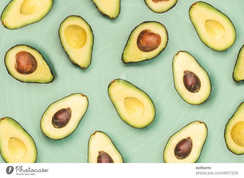 frische reife Avocados Muster abstrakt Amuse-Gueule essen Frische Scheiben Vegetarier Diät Bestandteil Gesundheit lecker Lifestyle Veganer Vitamine