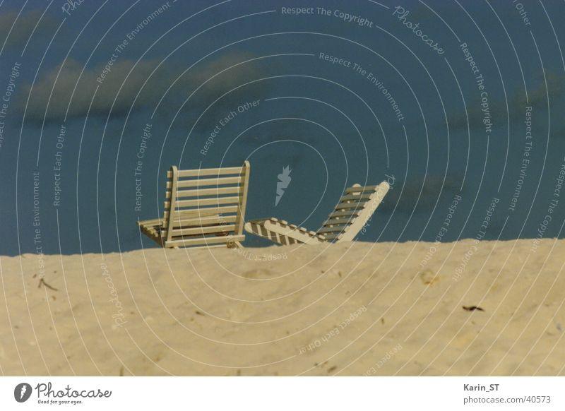 Relaxing Himmel Meer blau Strand Ferien & Urlaub & Reisen Wolken Erholung Sand Stuhl Malediven