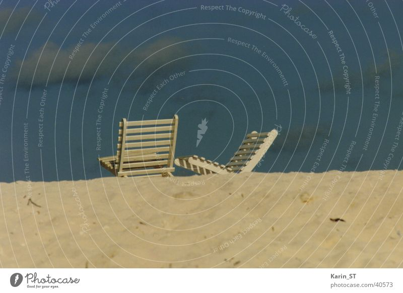 Relaxing Malediven Strand Erholung Meer Ferien & Urlaub & Reisen Wolken Stuhl Sand blau Himmel relaxing