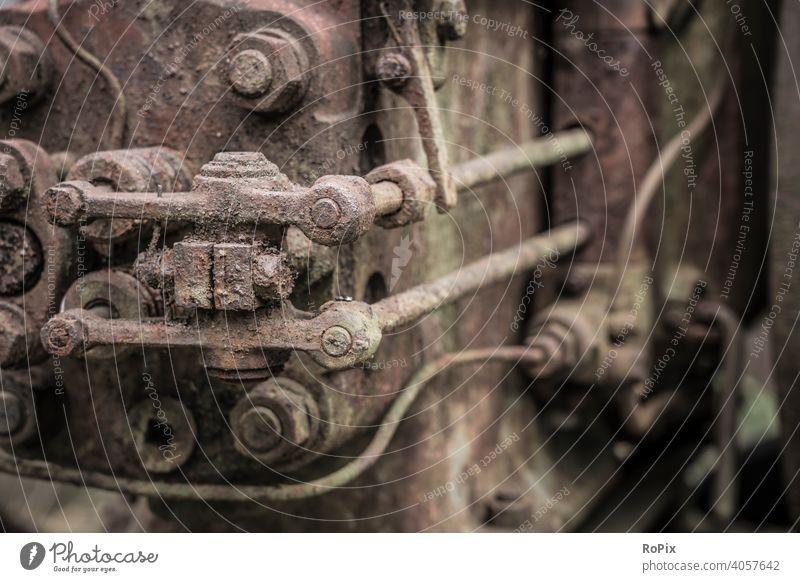 Ventiltrieb eines historischen Dieselmotors. Aggregat Motor Benzinmotor Kraftmaschine Energie Dynamik Bewegung Getriebe Mechanik Technik Maschine machine