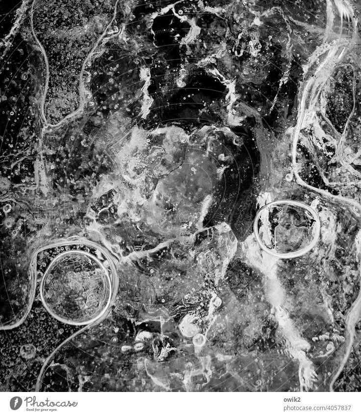 Winterfest Eis Nahaufnahme Detailaufnahme Luftblase Außenaufnahme abstrakt Muster Strukturen & Formen Menschenleer Gebilde Eisblasen Textfreiraum oben bizarr