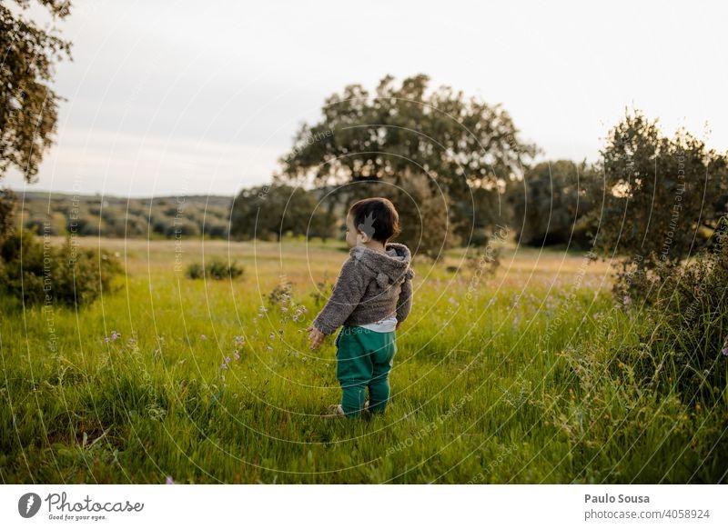 Rückansicht Kind stehend auf dem Feld Kindheit Kaukasier 1-3 Jahre Frühling Frühlingsgefühle Wiese mehrfarbig Lifestyle Mensch authentisch Fröhlichkeit Tag