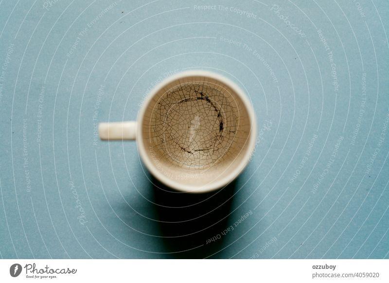 Flachlegung leerer Becher trinken Hintergrund Tasse flache Verlegung Café Kaffee Textfreiraum Morgen Markenbildung Business Raum weiß Konzept Espresso Tisch Top