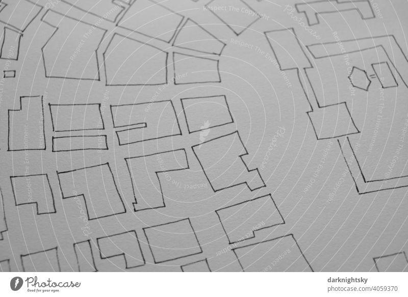 Urbane Architektur Zeichnung als Skizze für einen Vorentwurf in Tusche auf Papier bauen planen bausch Zeichnen Entwurf Planung Details Studie Konzept Büro