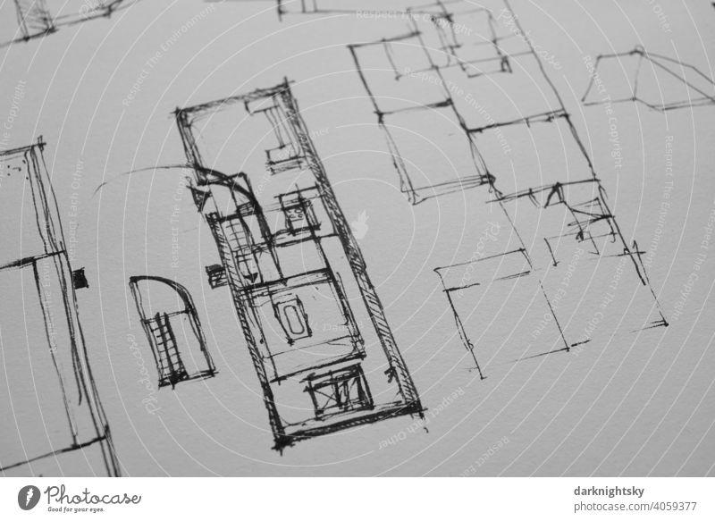 Architektur Zeichnung als Skizze für einen Vorentwurf in Tusche auf Papier bauen planen bausch Zeichnen Entwurf Planung Details Studie Konzept Büro Arbeit