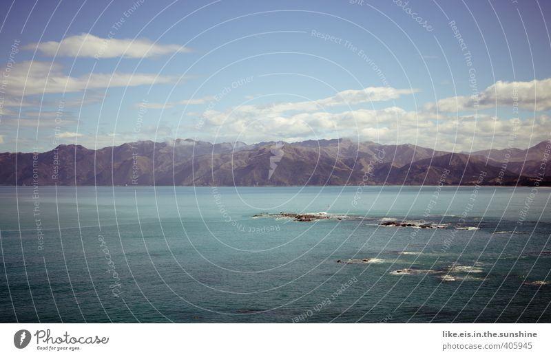 im Land der Träume II Natur Sommer Meer Landschaft Wolken Umwelt Berge u. Gebirge Küste Felsen Wellen Schönes Wetter Urelemente Gipfel Alpen Hügel Neuseeland