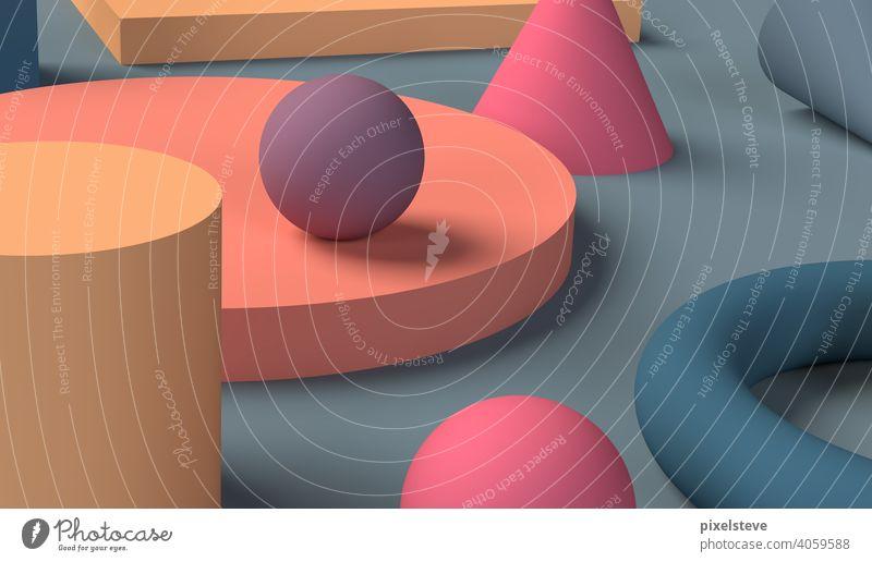 Verschiedene geometrische Körper auf einer Tischfläche. Hochauflösendes 3D-Rendering. form formen Hintergrundbild Geometrie geometrie kugel würfel bunt flächen