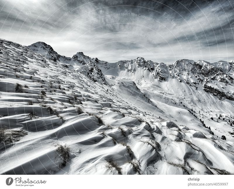 vom Wind geprägte Landschaft Winterstimmung Schneelandschaft Schneebedeckte Gipfel schneeverwehungen Schatten white Grasbüschel Wolken Momentaufnahme