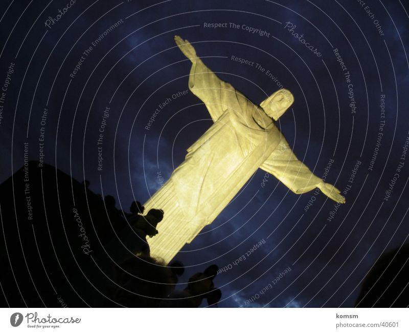 Brasilien Statue Christus Nacht Licht Jesus Christus Südamerika Himmel