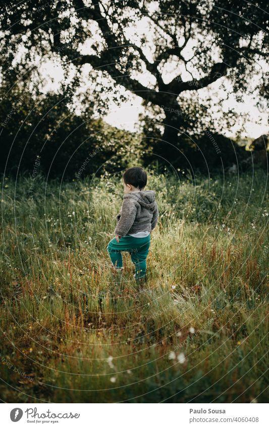 Kind auf dem Feld Natur natürlich erkunden 1-3 Jahre Kaukasier Rückansicht Wald Frühling Frühlingsgefühle Umwelt mehrfarbig niedlich authentisch Außenaufnahme