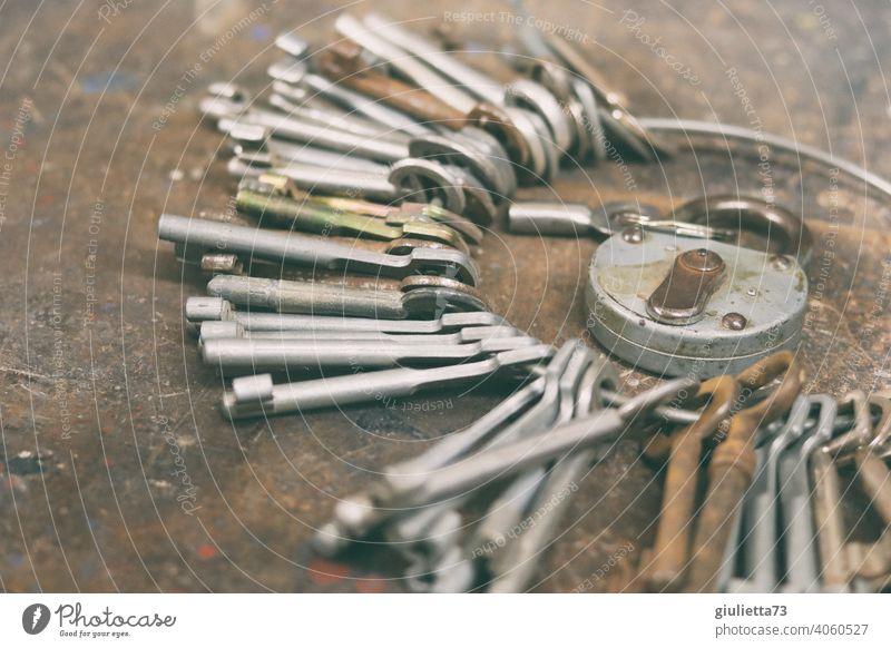 Viele ähnliche Schlüssel an einem Schlüsselbund | konform sicher Sicherheit sehr groß zahlreich mehrere viele Schwache Tiefenschärfe Nahaufnahme Werkzeug