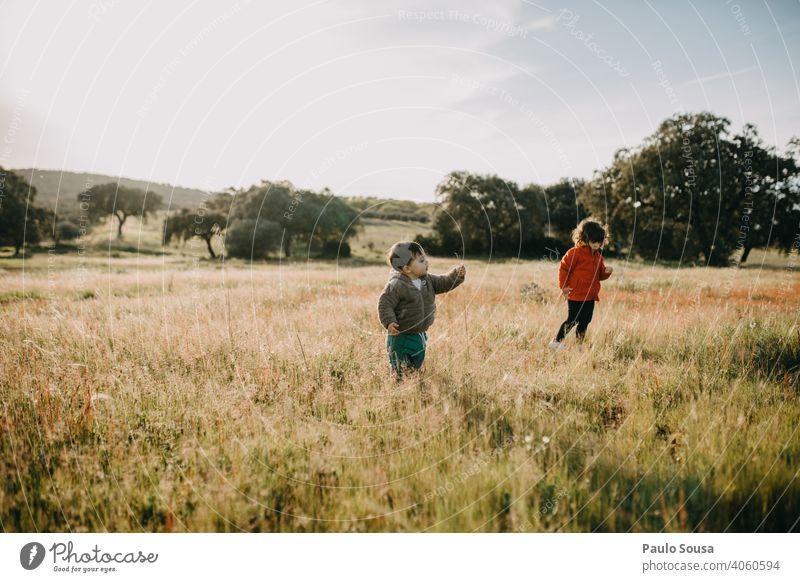 Bruder und Schwester spielen auf den Feldern Blumenwiese Geschwister Familie & Verwandtschaft 1-3 Jahre Mensch Kind Kindheit Farbfoto Kleinkind Außenaufnahme