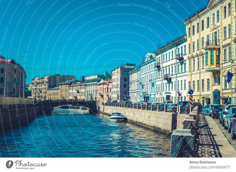 Schönes Gebäude entlang der Ufer der Flüsse und des Kanals Saint Petersburg Russland M Isaakskathedrale Großstadt Kirche Frühling Tourismus Sommer Architektur