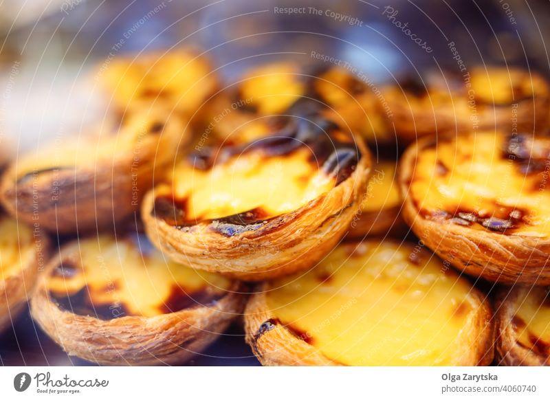 Portugiesische Nachspeise - Pastel de nata. Dessert Pastel de Nata Lebensmittel Vanillepudding lecker süß geschmackvoll traditionell Ei Gebäck Pasteten Torte