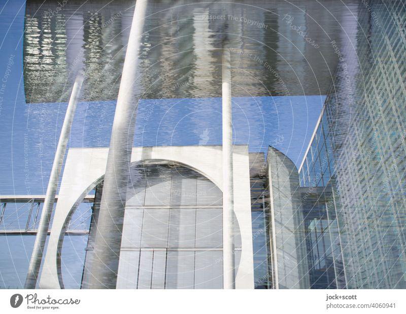 Reflexionen am großen modernen Haus Beton Stil Marie-Elisabeth-Lüders-Haus Moderne Architektur Reflexion & Spiegelung Parlamentsgebäude Deutscher Bundestag
