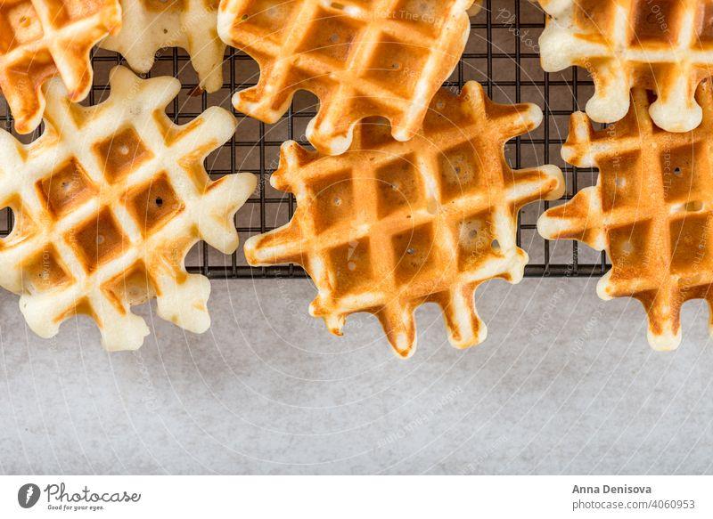 Traditionelle hausgemachte belgische Waffeln auf hellem Hintergrund Belgier Frühstück Dessert Blaubeeren Himbeeren Sirup gebacken süß frisch Beeren Gebäck