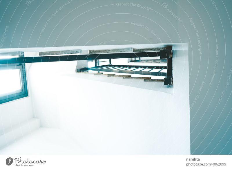 Böden und Treppen innerhalb eines Gebäudes Architektur Haus weiß Sauberkeit Fenster Licht Sonnenlicht natürliches Licht schwarz Reling Schiene Treppengeländer