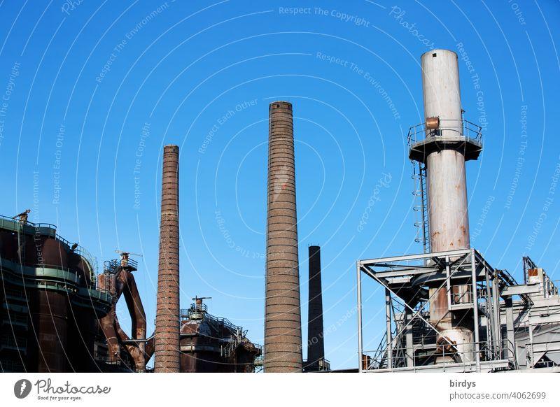 Stahlwerk, Zeche , Industriedenkmal Völklinger Hütte, Hochöfen und Schornsteine industrieschornstein Industriekultur Stahlgewinnung Kokerei Industrieanlage