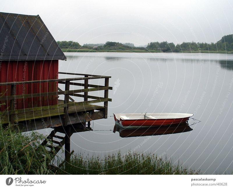 Dänemark See Wasserfahrzeug Reflexion & Spiegelung Haus am See Hütte