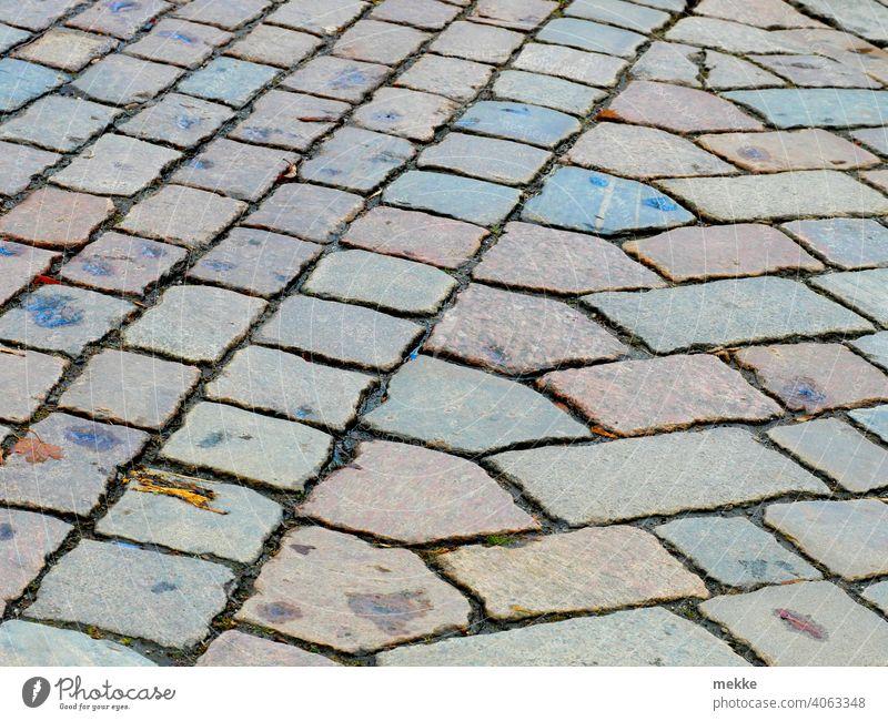 Übergang verschiedener Muster von Straßenpflaster Stein Weg Pflaster Städtebau Ziegelstein Tradition Hintergrund Struktur Pflasterstein Kopfsteinpflaster