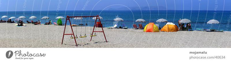 Ein Sommertag Sonne Meer Strand Europa Sonnenschirm Schönes Wetter Schaukel Schutz