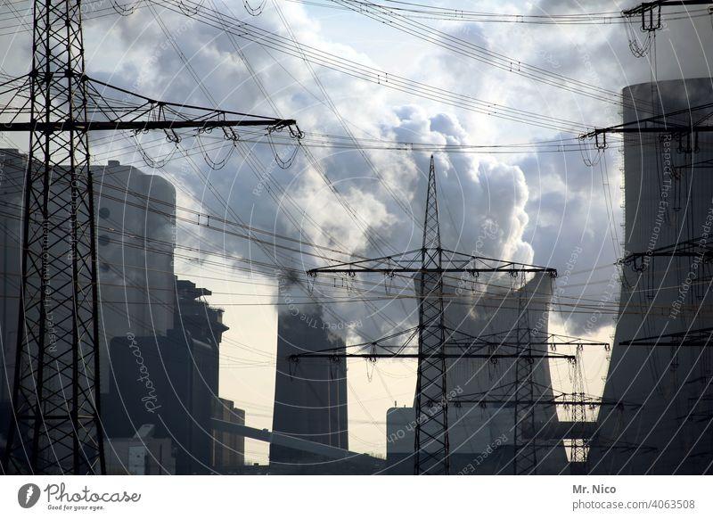 Power Station Erneuerbare Energie Kühlturm Arbeit & Erwerbstätigkeit Braunkohle Kohlekraftwerk Industrie Kraftwerk Hochspannungsleitung strommast hochspannung