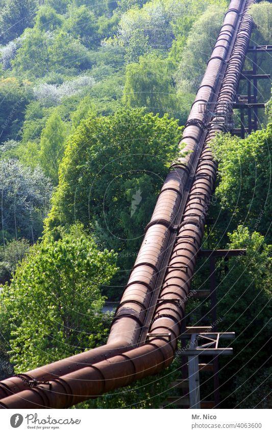 Pipeline mit knick Industrie Wald Technik & Technologie Linie Umwelt Gas Röhren Natur Landschaft Maschinenbau Konstruktion Kraft Energie Infrastruktur