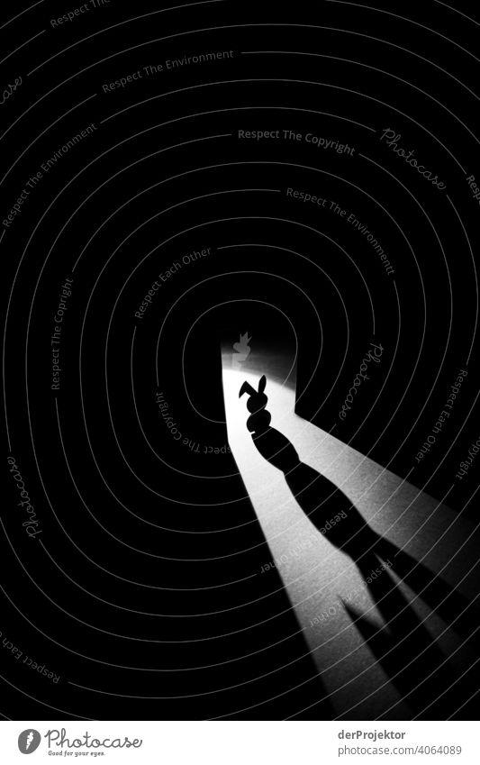 Osterhase aus Karton von hinten angeleuchtet mit langem Schatten III Osterhasen Hase & Kaninchen fake künstlich Künstlerisch ostereiersuche grau
