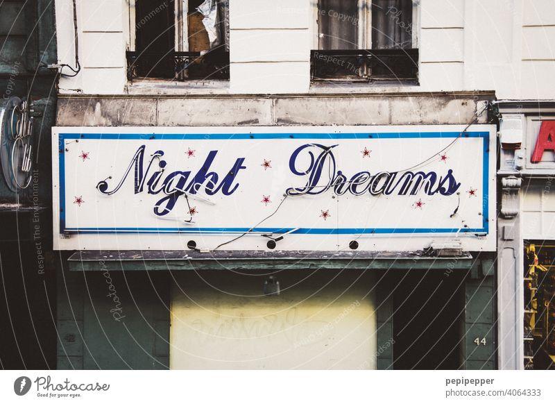 altes Neonschild – Night Dreams – night Licht Club Nachtleben Lampe Nachtclub Bar Rotlicht Rotlichtviertel Tanzen tanzen gehen Disco Party Feste & Feiern Musik