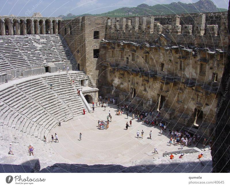 Theater in Aspendos alt Sommer Ferien & Urlaub & Reisen ruhig Wand Stein Mauer Gebäude Sand Architektur Treppe Tourismus kaputt Denkmal