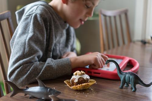 Junge mit Autismus kommuniziert mit ipad, während er einen hausgemachten glutenfreien Muffin isst; Plastiktierspielzeug in der Nähe besondere Bedürfnisse