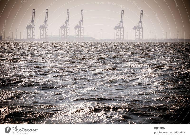 Kräne | Quintett Wasser Landschaft Ferne Umwelt Küste Arbeit & Erwerbstätigkeit Wellen glänzend groß mehrere Zukunft Urelemente Wandel & Veränderung Industrie