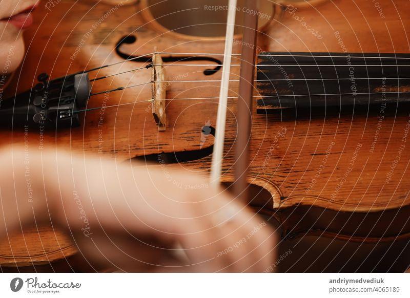 Nahaufnahme einer Violine mit Bogen. Braune Orchestergeige. Finger auf der Tastatur der Violine. Geige Musik klassisch Instrument Schnur Nägel Natur Blumen