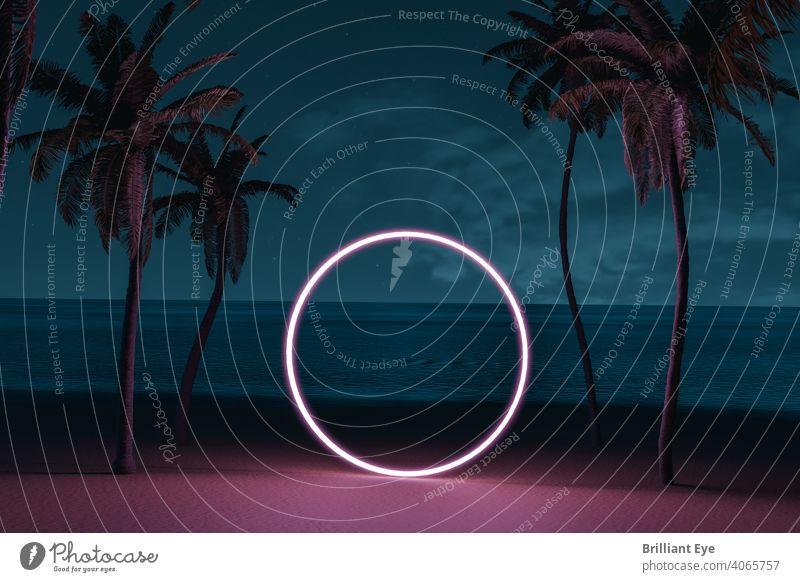 Kreisform auf Strandumgebung und Palmenallee aufhellen 3D-Rendering abstrakt Allee Hintergrund Strandpromenade schön blau kreisen Küste Textfreiraum