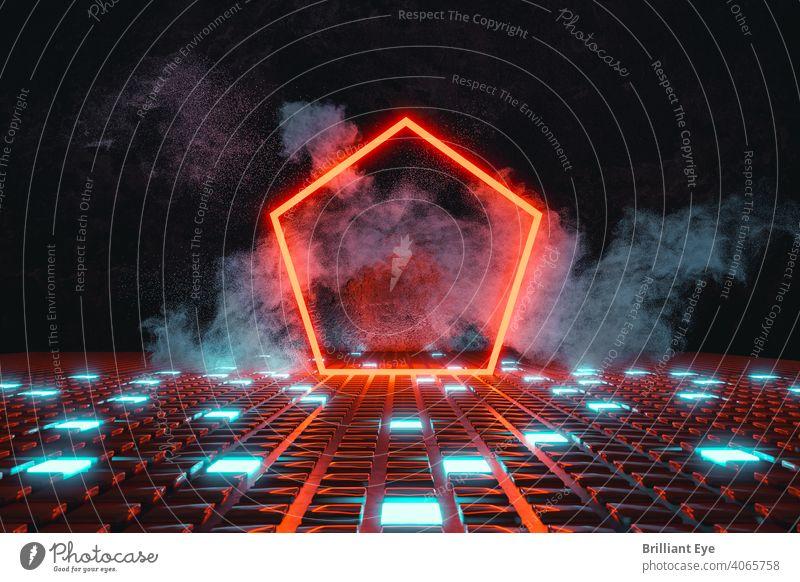 rote neonfarbene fünfeckige Form auf leuchtenden Knopfboden und umgeben von Rauch 3d abstrakt Hintergrund blau Unschärfe hell Schaltfläche Fünfeck Farbe