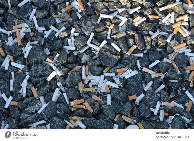 Empfehlung | mit dem Rauchen aufhören Zigaretten Kippen Müll Umweltverschmutzung wegwerfen rauchen Raucher entsorgen unverantwortlich Müllhalde