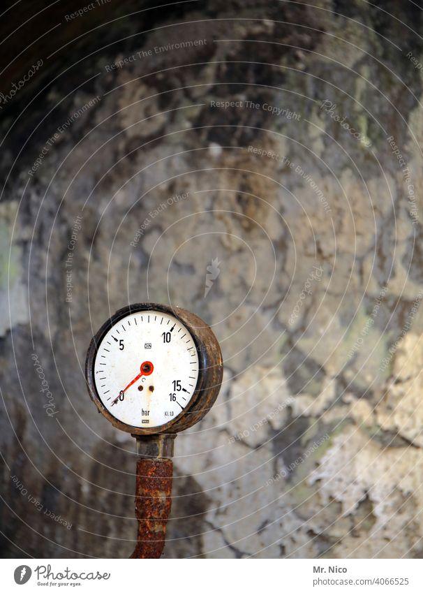 kein Druck Technik & Technologie dreckig thermostat Industrie Manometer Zifferblatt Kontrolle Anzeige Instrument ablesen anlage Industrieanlage industriell alt