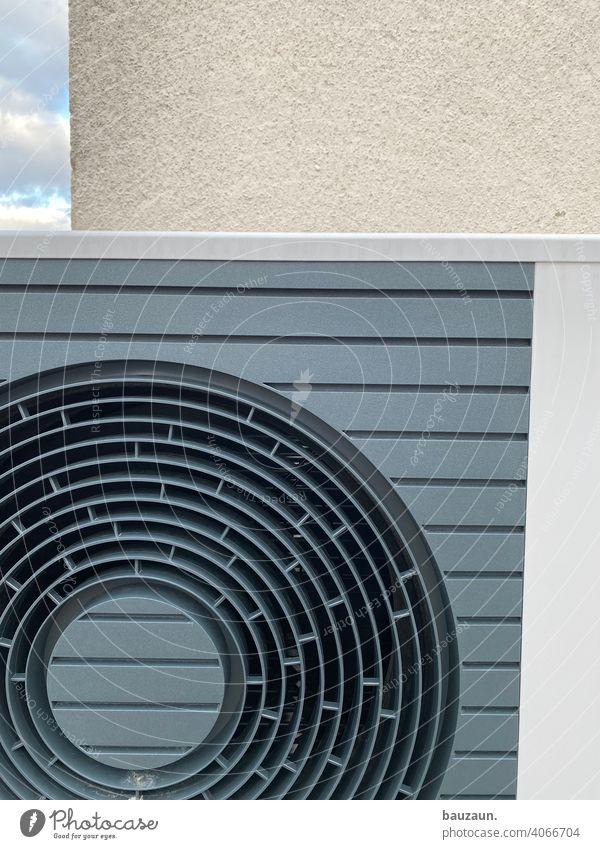luftwärmepumpendetails. Heizung Baustelle Farbfoto Menschenleer Industrie Technik & Technologie Wasser Energiewirtschaft Versorgung Luftwärmepumpe Installateur