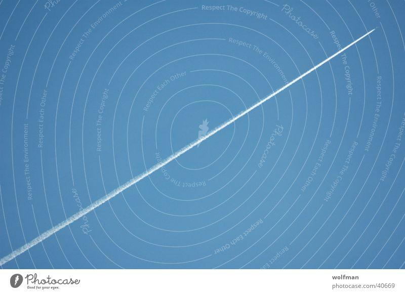 Diagonal Jet Himmel blau Wolken Linie Luftverkehr Streifen Kondensstreifen