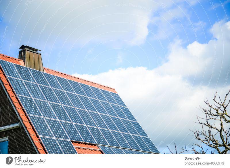 photovoltaik auf einem Dach eines Wohnhauses Photovoltaik Solarenergie Solarzellen Energiewirtschaft Sonnenlicht sparen Förderung Zukunftsorientiert